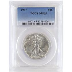 1937 Walking Liberty Half Dollar. PCGS Certified MS65.