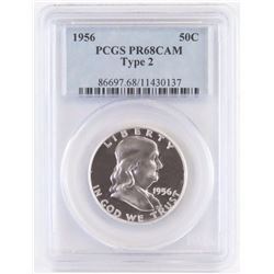 Proof: 1956 Ty.2 Franklin Half Dollar. PCGS Certified PR68CAM.