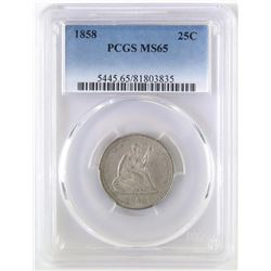 1858 Seated Liberty Quarter. PCGS Certified MS65.