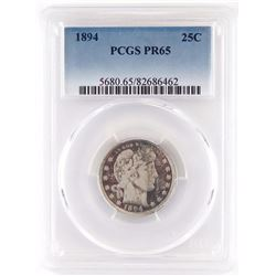 Proof: 1894 Barber Quarter. PCGS Certified PR65.