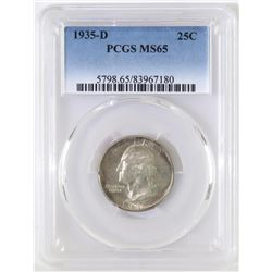 1935 D Washington Quarter. PCGS Certified MS65.