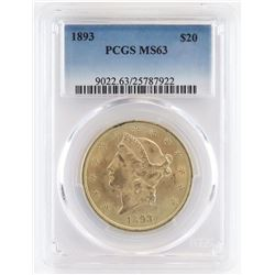 1893 $20 Liberty Gold. PCGS Certified MS63.