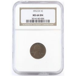 1912 D Lincoln Wheat Cent. NGC Certified MS64BN.