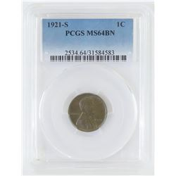 1921 S Lincoln Wheat Cent. PCGS Certified MS64BN.