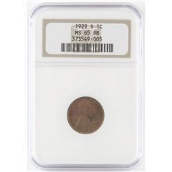 1929 S Lincoln Wheat Cent. NGC Certified MS65RB.
