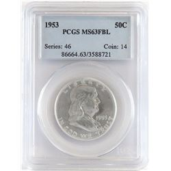 Lot of (8) PCGS Certified Franklin Half Dollars includes 1953 MS63FBL, 1953 D MS63FBL, 1953 S MS64,
