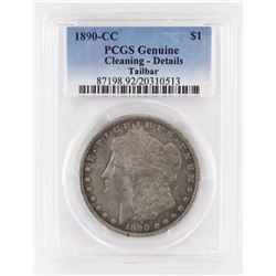 1890 CC Morgan Dollar - Tailbar. PCGS Certified Genuine - cleaning details.