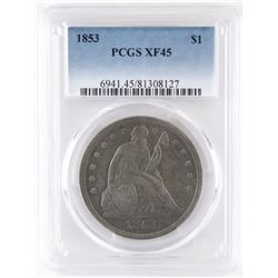 1853 Seated Liberty Dollar. PCGS Certified XF45.