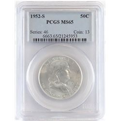 Lot of (4) PCGS Certified MS65 Franklin Half Dollars includes (2) 1952 S , 1953 S  1954 S.