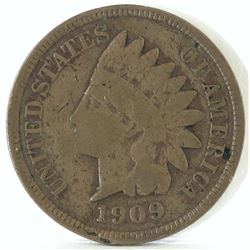 1909 S Indian Head Cent - slightly bent.