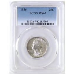 1936 Washington Quarter. PCGS Certified MS67.