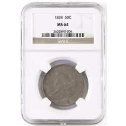 1838 Capped Bust Half Dollar. NGC Certified MS64.