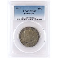 1922 Grant Commemorative Half Dollar - Star. PCGS Certified MS63.