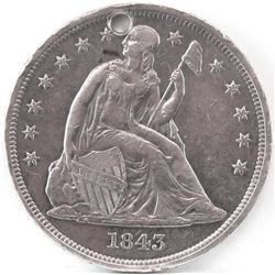 Lot of (2) Seated Liberty Dollars includes 1843  1872 - both holed.