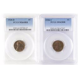 Lot of (3) PCGS Certified Lincoln Wheat Cents includes 1928 D MS64RB, 1928 S MS63RB  1929 D MS63RB.