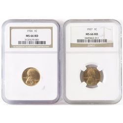 Lot of (2) NGC Certified MS66RD Lincoln Wheat Cents includes 1926  1927.
