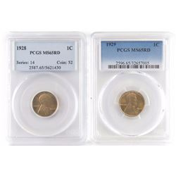 Lot of (2) PCGS Certified MS65RD Lincoln Wheat Cents includes 1928  1929.