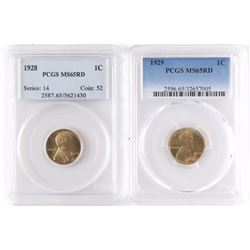 Lot of (2) Lincoln Wheat Cents includes 1911 PCGS Certified MS63RB  1912 NGC Certified MS64BN.