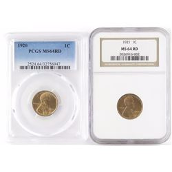 Lot of (2) Lincoln Wheat Cents includes 1920 PCGS Certified MS64RD  1921 NGC Certified MS64RD.