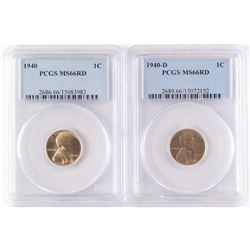 Lot of (3) Lincoln Wheat Cents includes 1940 PCGS MS66RD, 1940 D PCGS MS66RD  1940 S PCGS MS65RD.