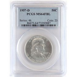 Lot of (5) PCGS Certified MS64FBL Franklin Half Dollars includes 1957 D, 1959, 1959 D, 1960  1960 D