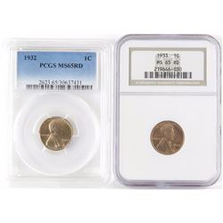 Lot of (2) Lincoln Wheat Cents includes 1932 PCGS Certified MS65RD  1933 NGC Certified MS65RD.