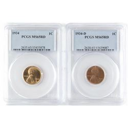 Lot of (2) PCGS Certified MS65RD Lincoln Wheat Cents includes 1934  1934 D.
