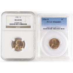 Lot of (3) Lincoln Wheat Cents includes 1936 NGC MS66RD, 1936 D PCGS MS66RD  1936 S PCGS MS65RD.