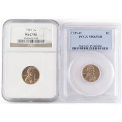 Lot of (3) Lincoln Wheat Cents includes 1935 NGC MS67RD, 1935 D PCGS MS65RD  1935 S NGC MS65RD.
