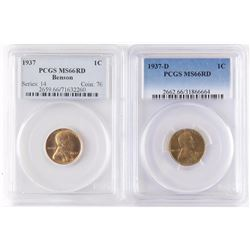 Lot of (3) Lincoln Wheat Cents includes 1937 PCGS MS66RD Benson, 1937 D PCGS MS66RD  1937 S PCGS MS