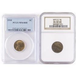 Lot of (6) Certified Lincoln Wheat Cents includes 1918 PCGS MS64RB, 1919 S NGC MS63BN, 1923 S PCGS A