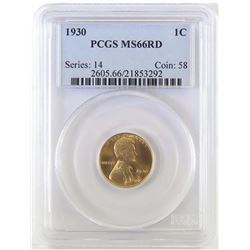 1930 Lincoln Wheat Cent. PCGS Certified MS66RD.