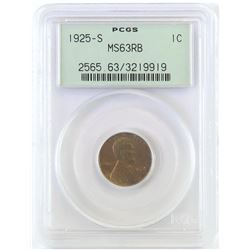 1925 S Lincoln Wheat Cent. PCGS Certified MS63RB.