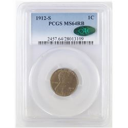 1912 S Lincoln Wheat Cent. PCGS Certified MS64RB CAC.