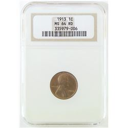 1913 Lincoln Wheat Cent. NGC Certified MS64RD.