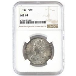 1832 Capped Bust Half Dollar - Rainbow Toning Reverse. NGC Certified MS62.
