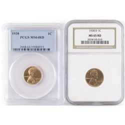Lot of (6) Certified Lincoln Wheat Cents includes 1938 PCGS MS64RD, 1938 D NGC MS65RD, 1938 D PCGS