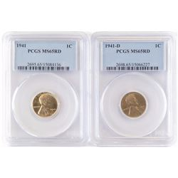 Lot of (6) Certified Lincoln Wheat Cents includes 1941 PCGS MS65RD, 1941 D PCGS MS65RD, 1941 S PCGS