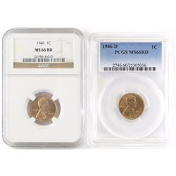 Lot of (6) Certified Lincoln Wheat Cents includes 1946 NGC MS66RD, 1946 D PCGS MS66RD, 1946 S PCGS M