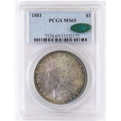 1881 Morgan Dollar. PCGS Certified MS65 CAC.