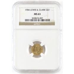 1904 $1 Lewis  Clark Commemorative Gold. NGC Certified MS63.