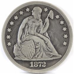 1872 CC Seated Liberty Dollar.