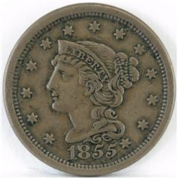 1855 Braided Hair Large Cent - Slanted 5 Knob on Ear.