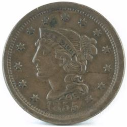 1855 Braided Hair Large Cent - Upright 5.
