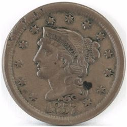 1857 Braided Hair Large Cent - Large Date.