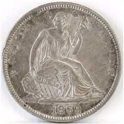 1859 O Seated Liberty Half Dollar.