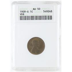 1909 S VDB Lincoln Wheat Cent. ANACS Certified AU50.