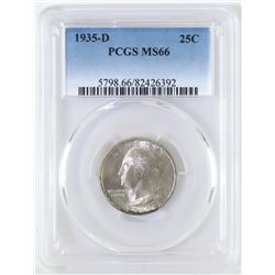 1935 D Washington Quarter. PCGS Certified MS66.