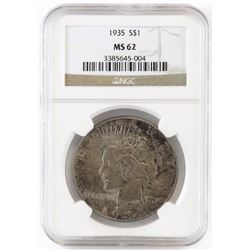 1935 Peace Dollar. NGC Certified MS62.