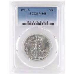 1941 S Walking Liberty Half Dollar. PCGS Certified MS65.